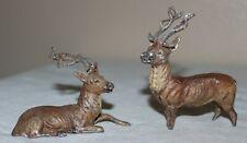 (2) Antique Cast Lead Reindeer Putz Figures Stag Deer Metal Christmas Germany