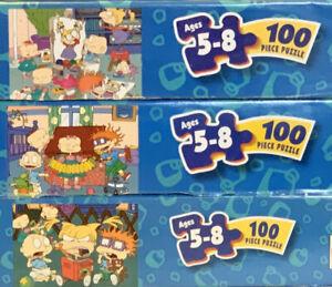 "Vintage Lot of 3 Rugrats Nicktoons 100 piece 12.5"" x 15"" Puzzle Mattel 1998"
