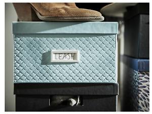 4 x Ikea Pallra 35cm Light  Blue Storage Box Boxes With Lid Desk Organiser New