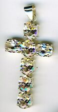 "925 Sterling Silver Clear Oval Cubic Zirconia Cross Pendant Length 2.1/4"" overal"