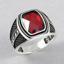 Ottoman Style Handmade Red Zircon Stone Men's Black Ring with Marcasite on sides