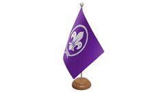 Scouts Purple Small Table Flag with Wooden Stand