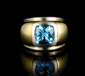 FINE CUSHION CUT NATURAL 3.78ct SWISS BLUE TOPAZ 14K GOLD WIDE CIGAR BAND RING