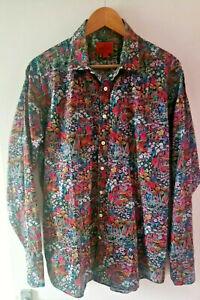 Simon Carter dramatic floral shirt 17.5in collar