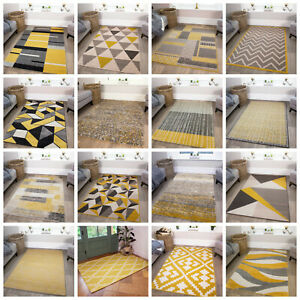 Ochre Mustard Yellow Rugs Living Room Small Large Geometric Rugs Affordable Rugs