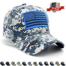 Baseball Cap USA American Flag Hat Visor Strapback Tactical Military Army Mens