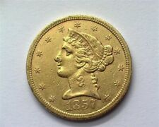 1857-S LIBERTY HEAD $5 GOLD NEARLY UNCIRCULATED RARE THIS NICE!!