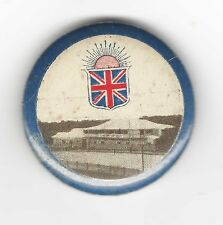 large button badge with Hostel, Flag and Rising Sun