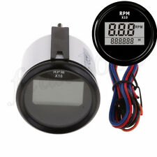 Universal Boat Car Motorcycle Red LED Digital Tachometer Hourmeter 0-9990RPM 1x