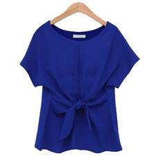 Women's Blouse Chiffon Short Sleeve Ladies OL Work T Shirt Casual Tops Bowknot