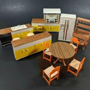 Vtg Tomy Dollhouse Furniture Lot 12 Kitchen Cabinet Refrigerator Smaller Home