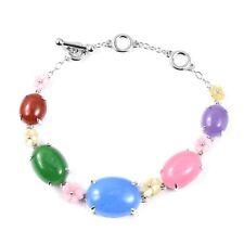 Burmese Multi Color Jade (Jadeite) Bracelet Sterling Silver (6-8 in) 53.10 ctw