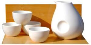 White Penguin Sake Set 4 cups