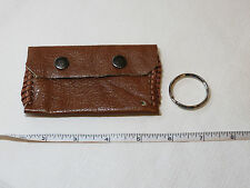 "Handmade leather coin / card key holder brown w/ stitching 4 1/2"" X 2 5/8"""