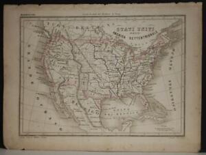 UNITED STATES 1850 MARMOCCHI ANTIQUE ORIGINAL COLORED LITHOGRAPHIC MAP