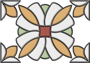 Brewster Home Fashions ~ Essex Amber Stained Glass Appliqué Sticker 10.5 x 7.7