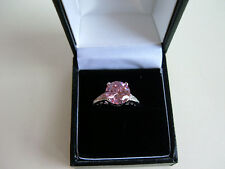 925 Sterling Silver Pink Topaz Dress Ring - size N