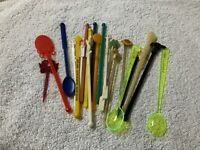 Lot of 22 Vintage Swizzle Cocktail Stir Sticks 1950s 1960s +