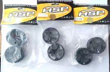 BULK SALE - RC 1/18 EP 26mm rim HSP Truggy Buggy RC Cars x 3 pairs 6 RIMS BLACK