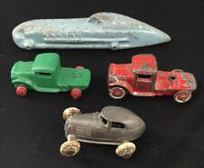 Lot Of 4 Vintage Slush Metal Toy Truck Car Race Car