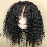 Curly Peruvian Virgin Human Hair Lace Front Wigs Pre Plucked Hairline Black H424