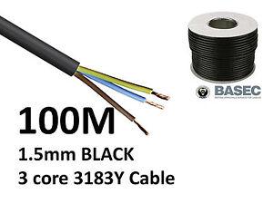 100M Black PVC Flexible Cable Flex 3 core 1.5mm 16 Amp 3183Y Wire Mains Round