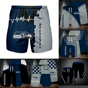 Seattle Seahawks Men's Summer Shorts Workout Fitness Casual Short Pants S-5XL