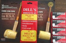 STRAIGHT Missouri Meerschaum Corn Cob Pipe & Dills Bristle & Medico Filters