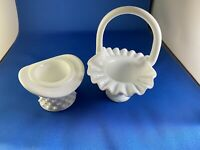 EUC! Vintage Fenton #3834 - 6 Inch Basket and 2 inch Topper -Hobnail Milk Glass