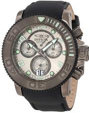 NWOT Men's Invicta 10719 Sea Hunter Black Canvas Silver Chronograph Dial Watch