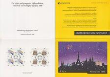 Klappkarte Post Pressest. Hessen u.a. Weihnachten 1999 (4er-Blocks MiNr.2084-85)