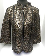 Chico's NWT Animal Foil Pattern Gold & Black 3/4 Sleeve Open Jacket Size 0/4