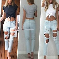 Fashion Women's Summer Loose Tops Short Sleeve Knot Blouse Casual Tops T-Shirt