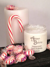 Homemade natural body lotion, peppermint scent, 8 oz jar, olive oil base, unisex