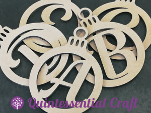 Laser MDF Christmas Bauble with Monogram Letter Craft Blank Decoration