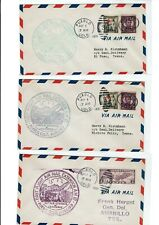 CAM12 S8 Pueblo COLORADO 1931 First Flight 4 Covers to Texas Air Mail !!