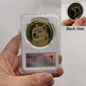 Beautiful Cute Dogecoin Dogecoin Coin Gold Coin with Frame for Collection