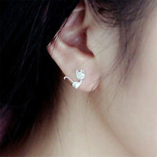 Animal Women Fashion Studs Girls Mini Cat Earrings Silver Plated 1 Pair Cute