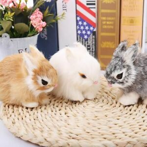 Realistic Artificial Rabbit Lifelike Easter Bunny Fur Animal Spring Party Decor