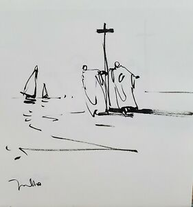 JOSE TRUJILLO - Expressionism Pen Ink Paper 6x6 Expressionist Religious SIGNED