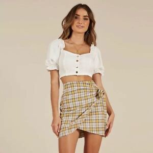 Womens Ladies Wrap Over Front Tie Mini Skirt size 10 12 14