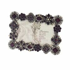 "Sheffield Home Picture Frame Rhinestone Jeweled Silver Pewter Purple 4"" x 6"""