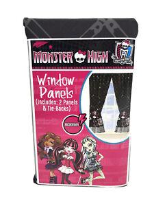 Mattel Monster High Doll Window Panels - Curtains Drapes MU492K Black Microfiber
