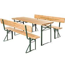 Ensemble de table et bancs avec dossier meubles de jardin fête set bois pliable