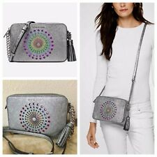 56429ad9e3f363 NWT MICHAEL KORS Ginny in Pewter Leather Disco Light Up Crossbody Bag $248