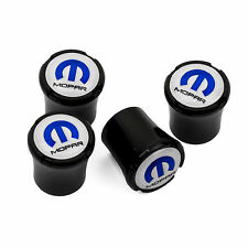 MOPAR Logo Black Tire Valve Stem Caps - Challenger Charger Chrysler - Blue Logo