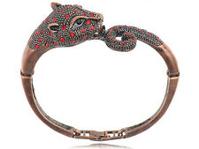 Copper Tone Metal Alloy Ruby Red Crystal Rhinestone Jaguar Cuff Bracelet Bangle