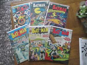 BATMAN SILVER AGE LOT OF 6! #150,151,166,188,204,213 1962-69 ALL IN VG RANGE!