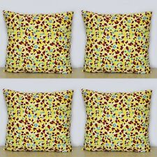 Yellow Floral 4 Pcs Indian Hand Block Print Home Decorative 16x16 Cushion Covers