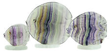 Hand Carved Natural Fluorite Fish Stone Carving Premium Quality (Set of 3)